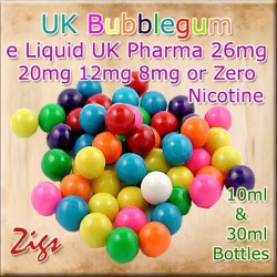 BUBBLEGUM Flavour E Liquid 26mg 20mg 12mg 8mg & zero nicotine 30ml & 10ml bottles