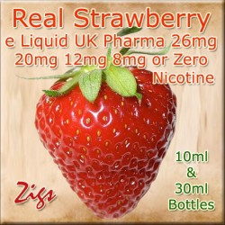 STRAWBERRY Flavour E Liquid 26mg 20mg 12mg 8mg & zero nicotine 30ml & 10ml bottles