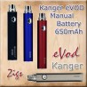 Evod eGo Kanger 650mAh e Cigarette Battery - Black - Blue - Silver - Red