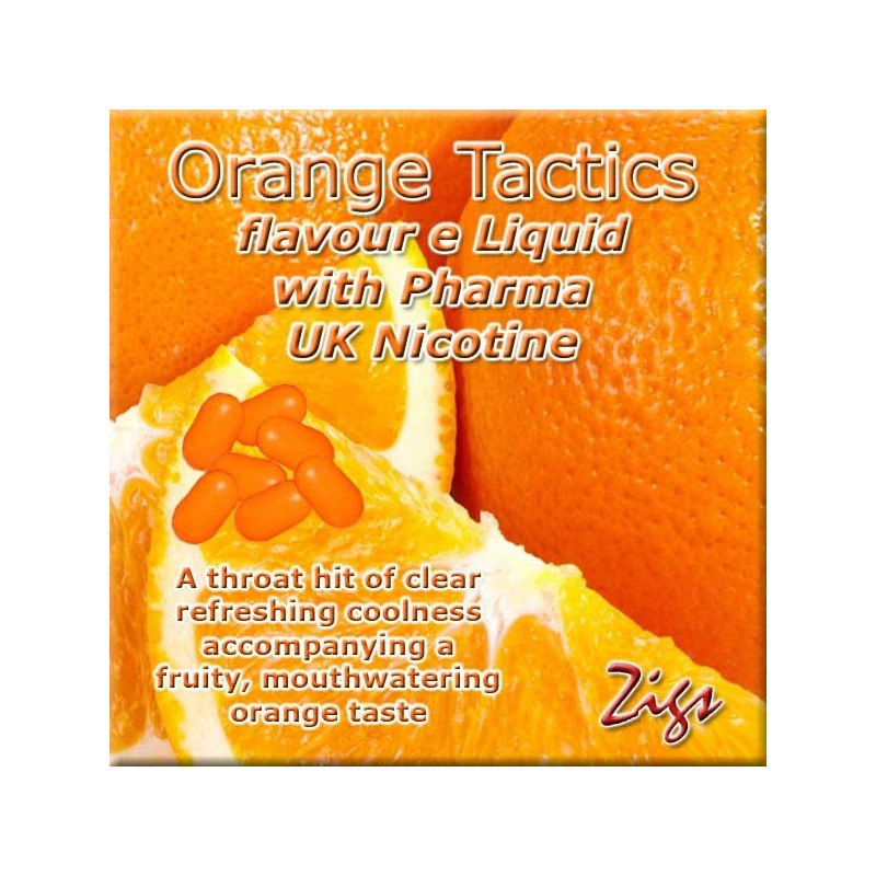 ORANGE TACTICS E Liquid - A throat hit of clear refreshing coolness accompanying a fruity, mouthwatering orange taste.