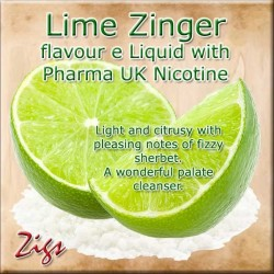 LIME ZINGER E Liquid - Light and citrusy with pleasing notes of fizzy sherbet. A wonderful palate cleanser.
