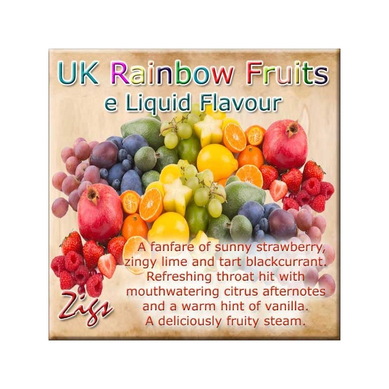 RAINBOW FRUIT E Liquid - Strawberry, zingy lime and tart blackcurrant. Mouthwatering citrus afternotes and a hint of vanilla.