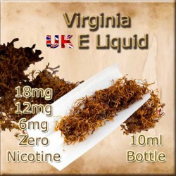 VIRGINIA E Liquid in 18mg 12mg and 6mg nicotine strengths