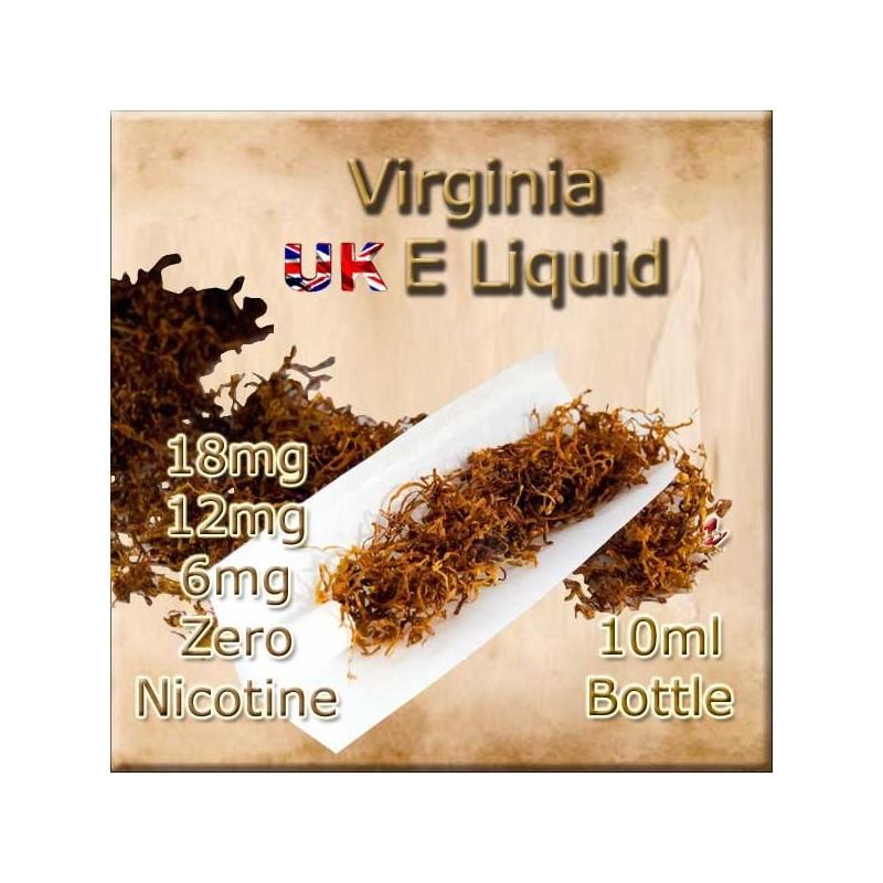 VIRGINIA E Liquid in 18mg 12mg and 6mg nicotine strengths