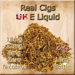 REAL CIGS E Liquid in 18mg 12mg and 6mg nicotine strengths