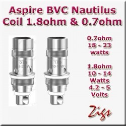 ASPIRE BVC NAUTILUS COIL 1.8ohm fits K3 tank and Nautilus 2 tank plus Zelos kit