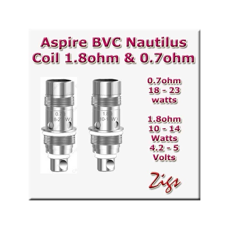 ASPIRE BVC NAUTILUS COIL 1.8ohm fits K3 tank and Nautilus 2 tank plus Zelos kit