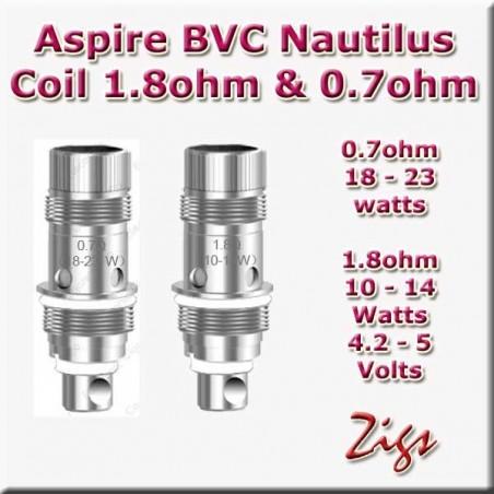 ASPIRE BVC NAUTILUS COIL 1.8ohm 1.6ohm & 0.7ohm