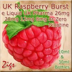 RASPBERRY BURST Flavour E Liquid 26mg 20mg 12mg 8mg & zero nicotine 30ml & 10ml bottles