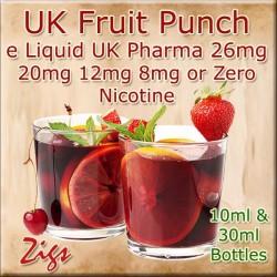 FRUIT PUNCH Flavour E Liquid 26mg 20mg 12mg 8mg & zero nicotine 30ml & 10ml bottles