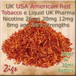 USA RED American tobacco Flavour E Liquid 26mg 20mg 12mg 8mg & zero nicotine 30ml & 10ml bottles
