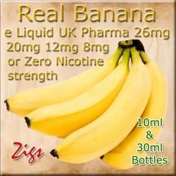BANANA Flavour E Liquid 26mg 20mg 12mg 8mg & zero nicotine 30ml & 10ml bottles